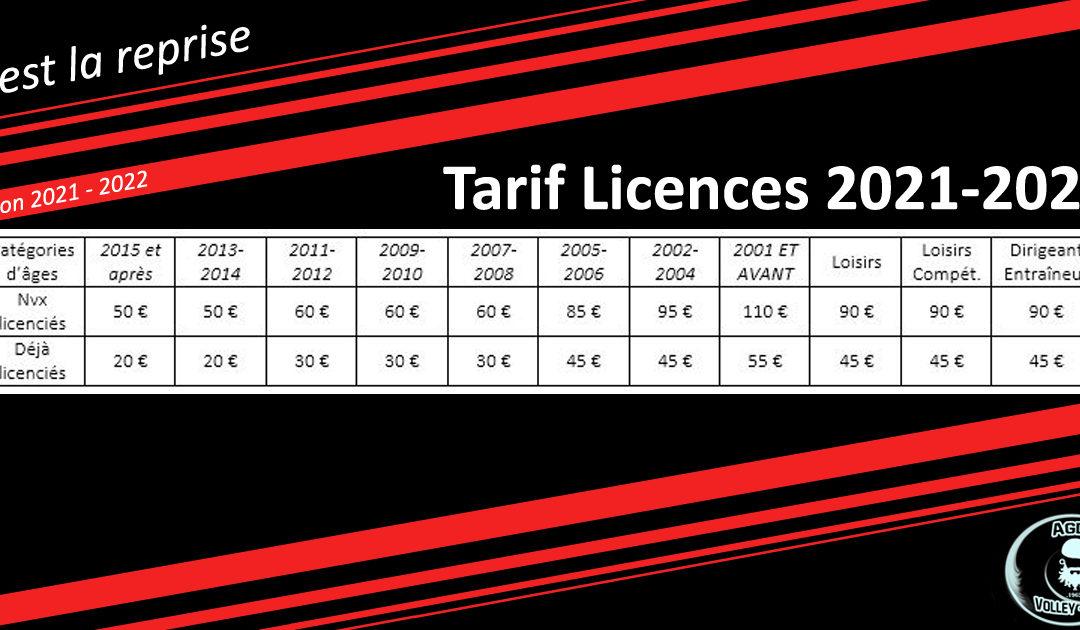 Tarifs licences Saison 2021-2022 ! Des prix attractifs !